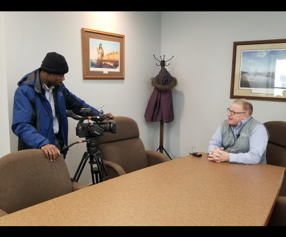 Malik Wilson interviews Terry Olson about the new Airman Statue on campus.